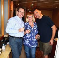 Andrew, Sally & Frank enjoy their first glass of sparkling wine.