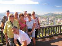 Our Group at the viewpoint over the city, with the Guggenheim Museum and Iberdrola Tower in the background.
