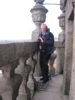 Gerry gets blown about on the viewing balcony of the Clerigos Tower.