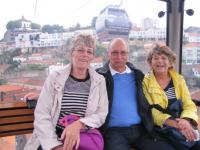 Frances, Peter & Lesley in the Cable-car in Gaia, on the opposite bank of the Douro River from the city of Porto.