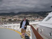 Gerry on the helicopter deck during the approach to Funchal, Madeira.