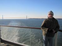 Andrew and the Verrazano Bridge, entering New York.