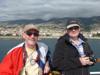 Arrival in Funchal, Madeira. Mark & Gerry on the helicopter deck.