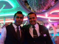 Our waiters, Castro and Yashvin, in the main restaurant.